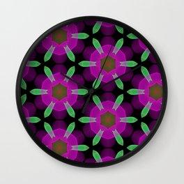 Abstract Spawning Green Fish Geometric Pattern Wall Clock