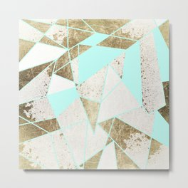 Modern Rustic Mint White and Faux Gold Geometric Metal Print