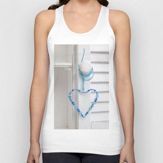Blue Heart of beads Unisex Tank Top