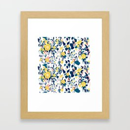 Buttercup yellow, salmon pink, and navy blue flowers on white background pattern Framed Art Print