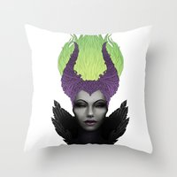 maleficent Throw Pillows featuring Maleficent by clayscence