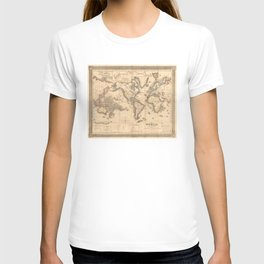 Vintage Map of the World (1850) T-shirt