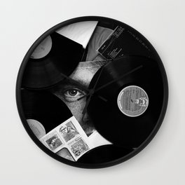 Long-playing Records and Covers in Black and White - Good Memories #decor #society6 #buyart Wall Clock