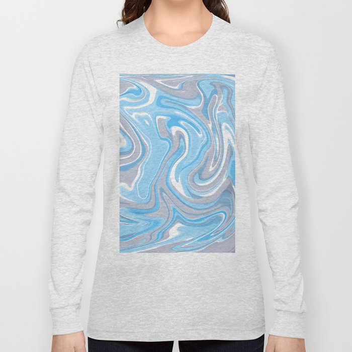 Blend of Blue and Grey Shades Marble Long Sleeve T-shirt