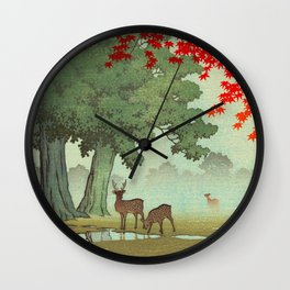 Vintage Japanese Woodblock Print Nara Park Deers Green Trees Red Japanese Maple Tree Wall Clock