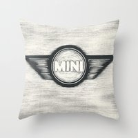 mini cooper Throw Pillows featuring Mini Cooper Logo by SummerIllustrations