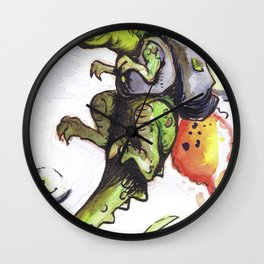 Dinosaur wearing Jetpack Wall Clock