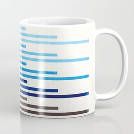 Blue Minimalist Abstract Mid Century Modern Staggered Thin Stripes Watercolor Painting Coffee Mug