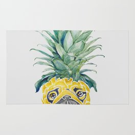 Pineapple  Pug Watercolor Rug