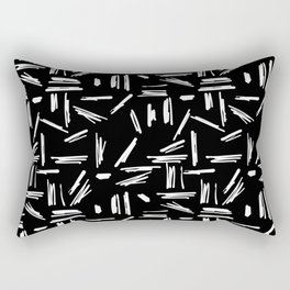 Crosshatch Doodle Black and White Rectangular Pillow