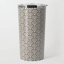 Japanese Wave Seigaiha Grey Seamless Patterns Symbols Travel Mug