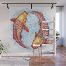 Pisces Fish Yin Yang Mandala Wall Mural