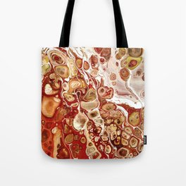 Red and Gold Fluid Pour Abstract Painting Tote Bag