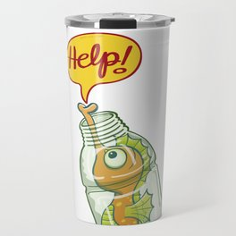 Cut seahorse asking fo help when trapped in a plastic bottle Travel Mug