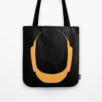 deadmau5 Tote Bags featuring Daft Punk Guy Manuel Helmet by Alli Vanes