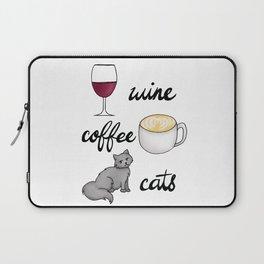 Wine Coffee Cats Laptop Sleeve