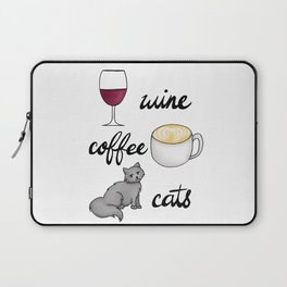Wine Coffee Cats Laptop Sleeve