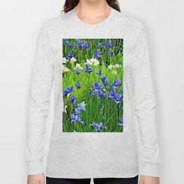 BLUE & WHITE  IRIS FLOWER GARDEN Long Sleeve T-shirt