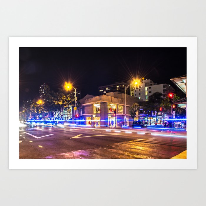Waikiki at night  - Hawaii Art Print