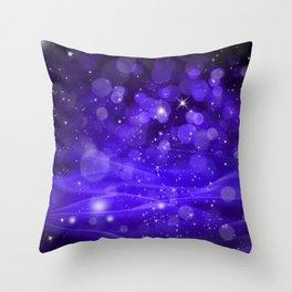 Whimsical Purple Glowing Christmas Sparkles Bokeh Festive Holiday Art Throw Pillow