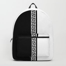 Greek Key 2 - White and Black Backpack