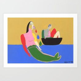 The Mermaid and The Sailor Art Print