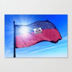 Haiti flag waving on the wind Canvas Print