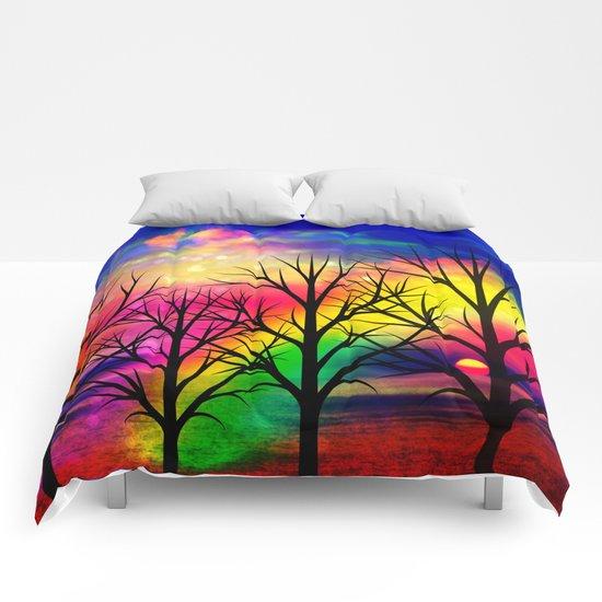 rainbow sunset Comforters