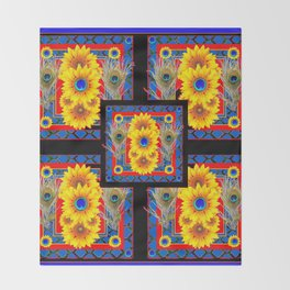 BLUE PEACOCK JEWELED SUNFLOWERS DECO ABSTRACT Throw Blanket