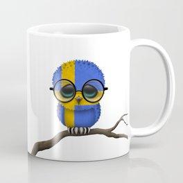 Baby Owl with Glasses and Swedish Flag Coffee Mug