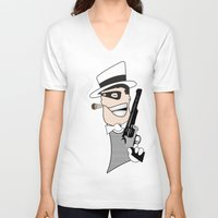 western V-neck T-shirts featuring Western Mobster by Grime Lab