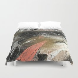 lighning [2]: a colorful abstract piece in black, white, gold, and pink Duvet Cover
