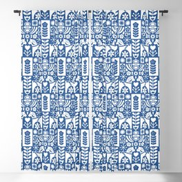Swedish Folk Art - Blue Blackout Curtain