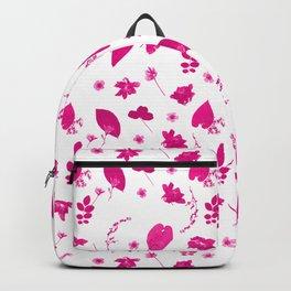 Pink Floral Pressed Flower and Leaf Pattern Backpack