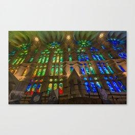 The interior architecture of Sagrada Familia in Barcelona, Spain Canvas Print