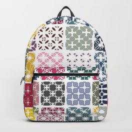 Colorful patchwork from geometric shapes Backpack