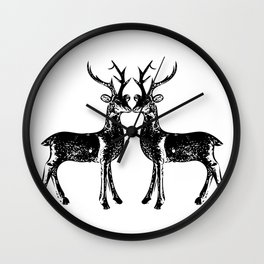 reindeers ( black and white) Wall Clock