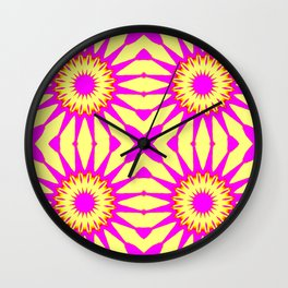 Pink & Banana Yellow Pinwheel Flowers Wall Clock