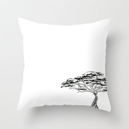 Whistling Thorn , Zen Bonsai African Tree Throw Pillow