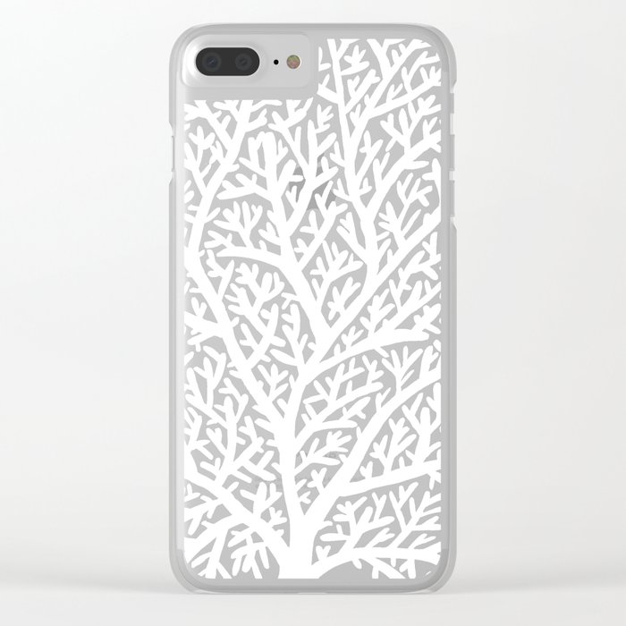Fan Coral – White Ink on Black Clear iPhone Case