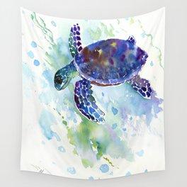 Happy Sea Turtle, aquatic marine blue purple turtle illustration Wall Tapestry