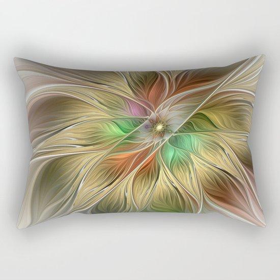 Golden Flourish, Abstract Fractal Art Rectangular Pillow