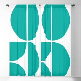 Mid Century Modern Turquoise Square Blackout Curtain