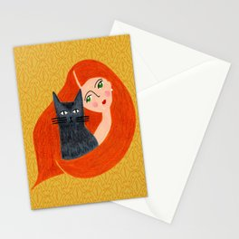 Besties. Crazy cat lady with golden geometric pattern Stationery Cards