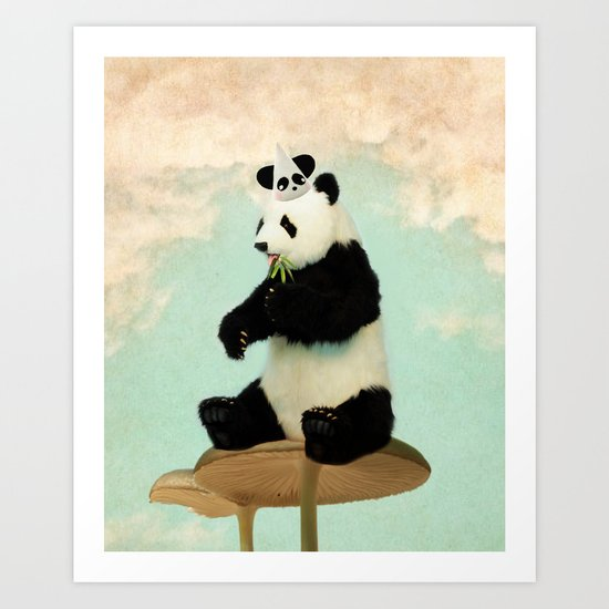 Wild Mushroom Panda Party Art Print