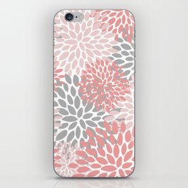 Floral Pattern, Coral Pink and Gray iPhone Skin