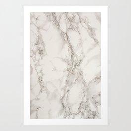 Classic Beige and White Marble Natural Stone Veining Quartz Art Print