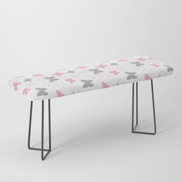 Pink Gray Butterfly Bench