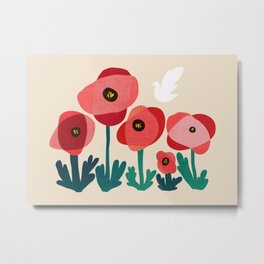 Poppy flowers and bird Metal Print