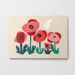 Poppy flowers and bird Metal Print